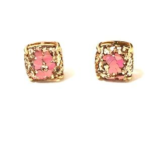 Kate Spade gold and pink heart earrings ♠️ 💗